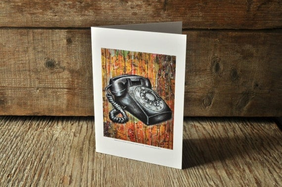 Vintage phone blank greeting card