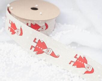 Linen Father Christmas Ribbon