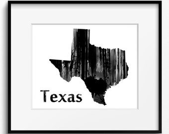 Texas State Map Watercolor Black and White Art Print (780) USA