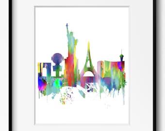 Las Vegas Skyline Watercolor Art Print (384) Cityscape Nevada