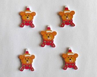 5 Christmas Bear Buttons - Wooden Bear Buttons  - #C-00016