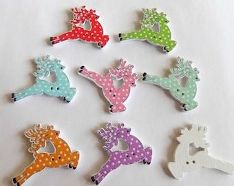 8 Raindeer  Wooden Buttons - Christmas Buttons -  #C-00028