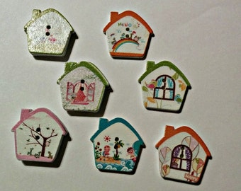 7 Cottage House Buttons - #SB-00078