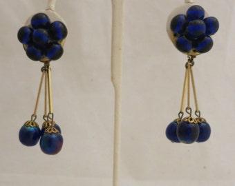 Vintage Cobalt Blue CZECH Glass Beads Dangle Earrings