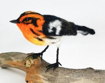 Blackburnian warbler, felted life-size warbler, needle felted sculpture, realistic warbler art, bird art, realistic bird, gift for birder