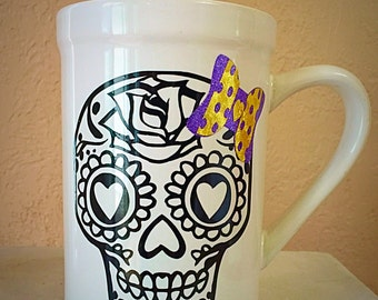 Sugar Skull Mug with bow! (-: