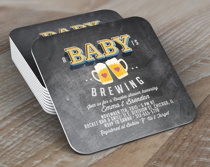 Personalized Coaster, Baby is brewing, Coed baby shower invitation- Beer baby shower invitation- couples baby shower  -  BBQ, party decor