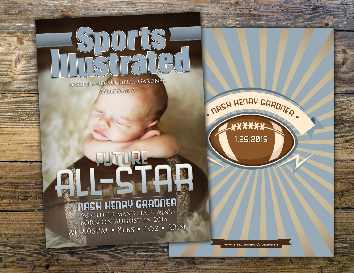 Sports MAGAZINE theme birth announcement baby boy football – Football Birth Announcements