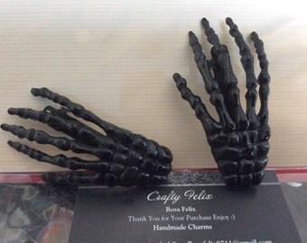 2 Skeleton hands hair clips handmade set of two