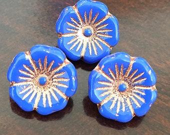 Blue Czech Glass Buttons, Small Flower Buttons, Cobalt Blue Glass Shank Flower Buttons with Golden Accents, 12mm - 10 buttons (BT-02)