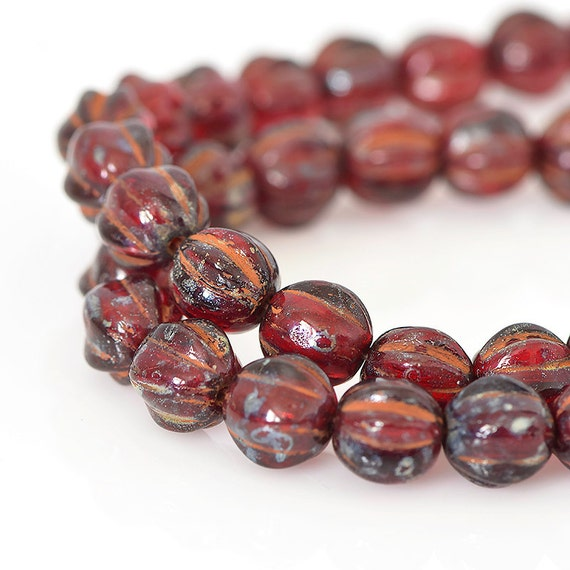 Red Ruby Beads: Ruby Red Melon Beads With Picasso Finish Round Red Glass