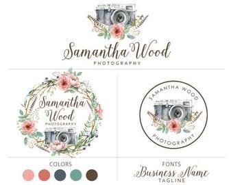 Logo package camera logo feather logo flower design logo branding package photography logo marketing kit