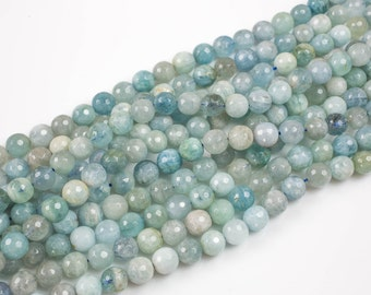 NATURAL aquamarine faceted round beads in full strands.  6mm, 8mm, 10mm, 12mm, 14mm