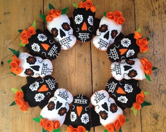 Halloween Mexican Sugar Skull felt wreath