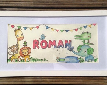 Illustrated name frame with jungle animals