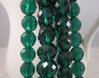 OZ 10mm Emerald Firepolish Czech Glass Faceted Rounds - Emerald Green Pine Christmas Holiday Kelly - Qty 10 10-153