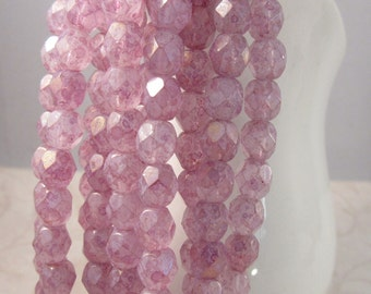 ICED BERRIES 6mm Luster Stone Pink Firepolish Czech Glass Faceted Rounds - White Stone Pink Raspberry - Qty 25 (6-163)