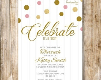 Gold Pink Glitters Woman Birthday Party Invite, Gold Pink Glitter Polka Dots 21st 30th 40th 50th 60th Birthday Invite, Diy Digital Printable