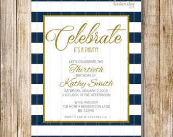 NAVY BLUE Stripes Birthday Invitation, Navy Blue Gold Birthday Invite, Modern Gold Nautical Party, Adult Woman Man, Diy Printable Digital