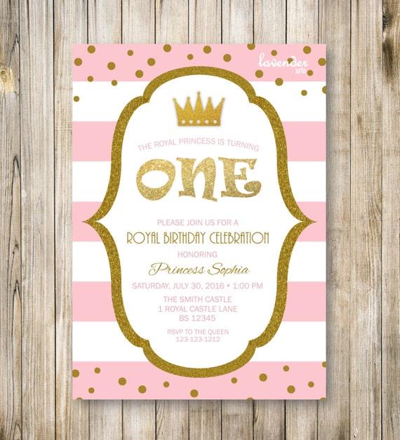 Items Similar To Princess First Birthday Invitation, Girl