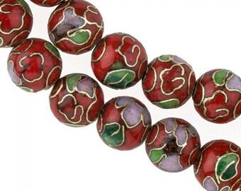 8mm red cloisonne bead.  Pkg of 5. b2-0070(e)