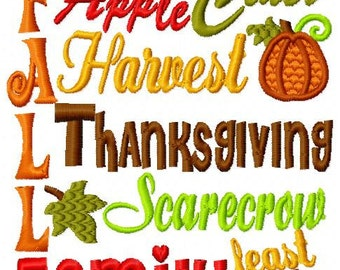 Thanksgiving Subway Art Embroidery Design dst, exp, hus, jef, pes, sew, vip, vp3, Formats Digital INSTANT DOWNLOAD