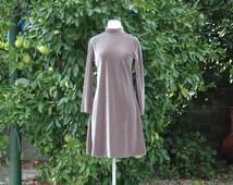 Olive Green Velvet Mini Dress with Long Sleeves & Mock Turtleneck