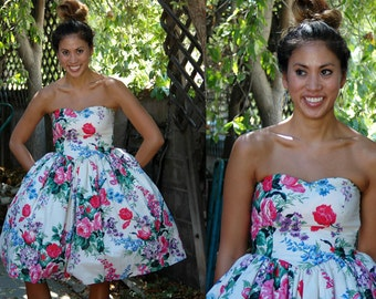 Ivory 1980s does 1950s Strapless Floral Dress with Oversized Bow // Ultimate Tea Party Dress with Full Skirt