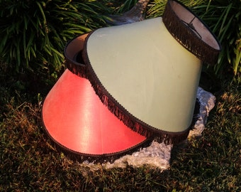 Vintage Lamp Shade - 1940s Stiff Cardboard Paper Lamp Shade with Fringe Top and Trim - Burlesque Lamp Shade