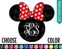 Disney Monogram Minnie Head Printable Iron On Transfer Chevron Dots Plain - DIY Disney Shirt Personalized Disney Minnie Ears Disney World