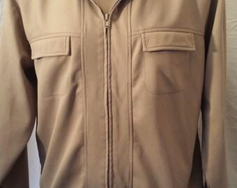 Vintage 1980's Men's Haband Zip Up Jacket shirt tan sz L