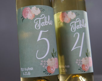 Wedding Table Numbers // Wedding Table Number Signs // Sage Green Wedding Numbers // Wedding Wine Labels Personalized  // Custom Wine Labels