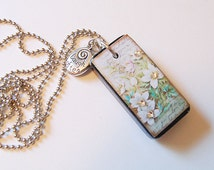 Vintage flower black - chalk board - painted - domino -  necklace! Handmade! Ready to ship!
