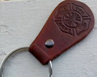 Genuine Leather Firefighter Keychain