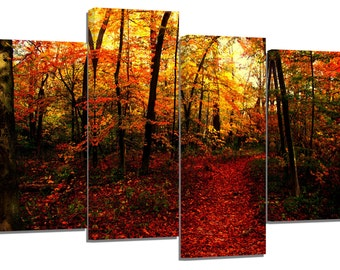 Autumn red orange forest path/ photography / set of 4 new canvas split prints /32x20