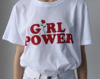 Girl power screen printed t-shirt in white