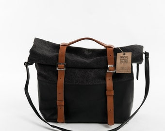 Backpack canvas bag cowhide made in italy