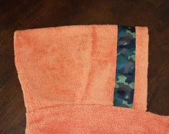Camo Hooded Towel, Orange or Green - For babies, toddlers, preschoolers and beyond!