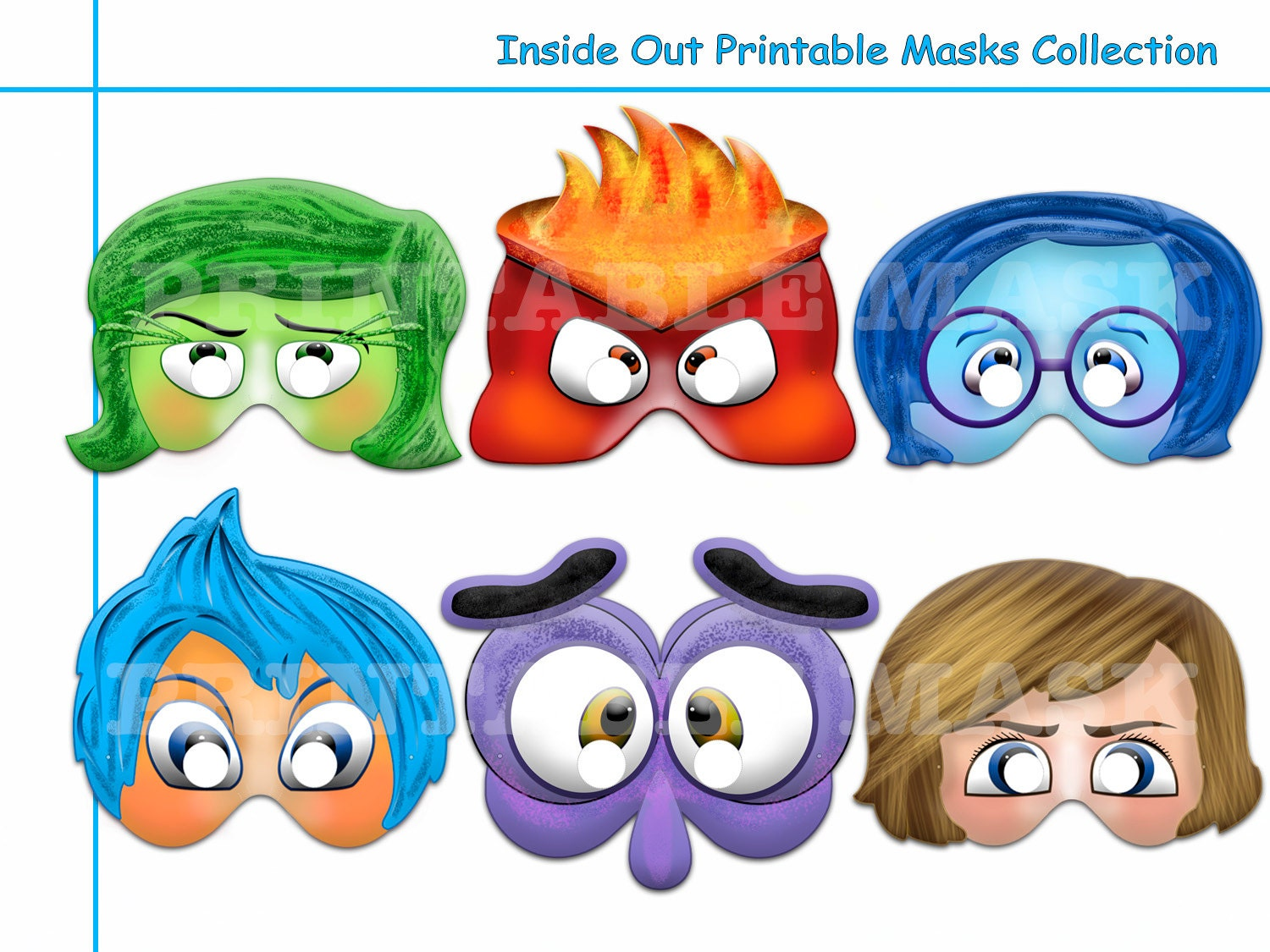 Disney coloring inside out - Di Disney Coloring Masks Unique Inside Out Printable Masks Mask Photo Booth Props Emotions Coctume
