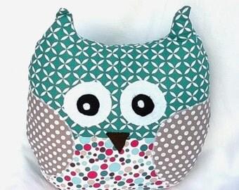 CUSHION owl, OWL... Cuddly cotton geometric patterns-child