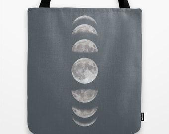 Moon Phases Tote Bag Personalized Gifts - 13x13 16x16 18x18 - Galaxy universe stars sci-fi Birthday Gift Woman Teens Girlfriend Boyfriend