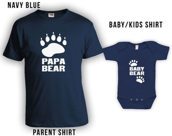 Papa Bear - Baby Bear - Matching Fathers Day Set - Baby Shirt, Gifts for Him Gifts for Dad from Son, Fathers Day Shirt, Bodysuit CT-326-327