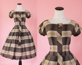 1950s plaid dress/ 50s brown day dress/ small