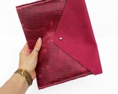 SALE!  Large Leather Clutch BagiPad Case  Handmade in England  Rose and Magenta
