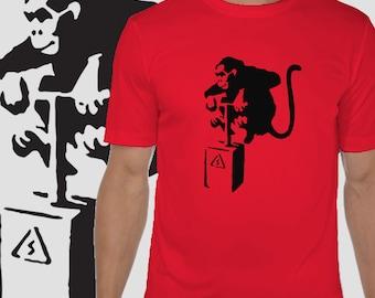 Banksy Tshirt - Banksy monkey Tshirt - Festival clothing - Hipster Tee - Gift for him - Beach wear - Mens clothing - Short sleeved Tee