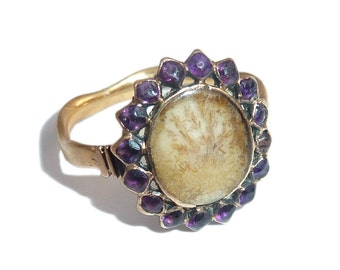 Georgian Mourning Ring With Amethyst Halo And Hairwork Under Crystal