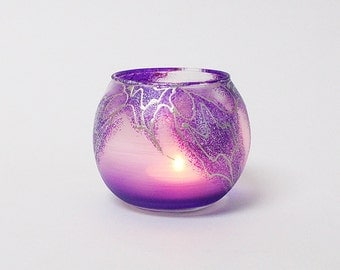 Purple Candle Holder Hand Painted Glass Sphere Tea Light Holder Home Decor Wedding Candle Holder Romantic Lighting Mother's Day Gift