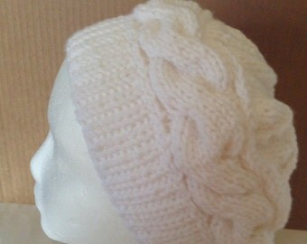 White Slouchy Beanie, Crochet Cable Women Beret, Girl Slouchy Beanie