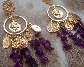 Golden Dangle Amethyst Earrings
