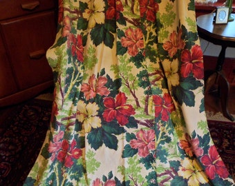 "Vintage Bark Cloth Curtain Drape Panel~66"" Pinch Pleat~Lovely Floral/Flowers Hibiscus Tropical #2"